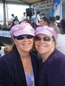 """Lee and I at a Red hatter's event, we are under 50 so technically we are """"pinkies"""""""